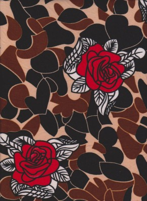 Red Roses and Black Hearts On Double Brushed Poly Lycra Jersey