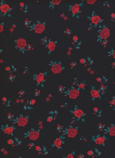 Red Roses on Black Cotton Lycra Jersey