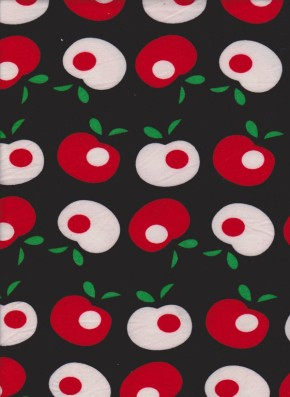 Red and White Apples on Black Double Brushed Poly Lycra Jersey