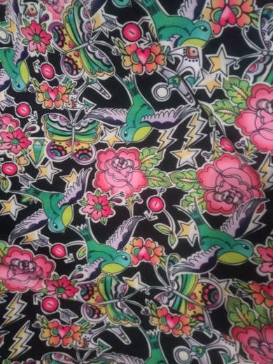 Roses, Birds, Butterlies on Blac Double Brushed Poly Lycra Jersey