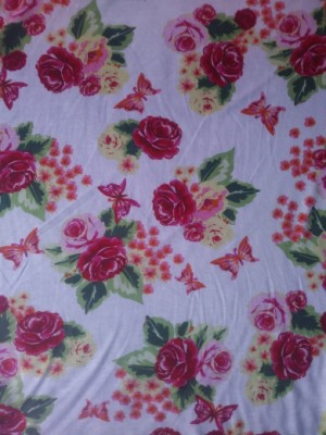 Roses and Butterfly on White Rayon Poly Lycra Jersey