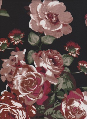 Pink Roses on Black Double Brushed Poly Lycra Jersey