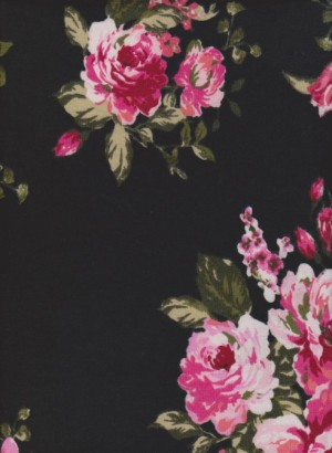 Roses on Black Rayon Lycra Jersey
