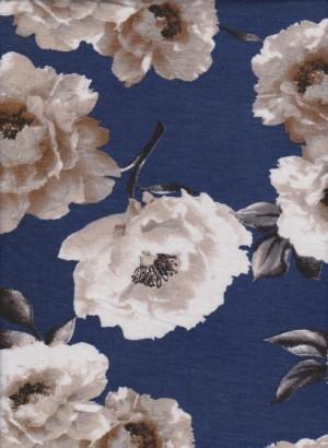 Roses on Blue Rayon Lycra Jersey