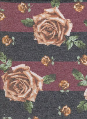 Roses on Burgundy and Charcoal Stripe Double Brushed French Terry