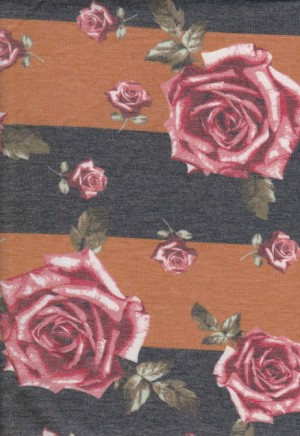 Roses on Mustard and Charcoal Stripe Double Brushed French Terry