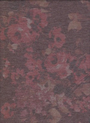 Shabby Flowers on  Dirt Burgundy  Doube Brushed French Terry