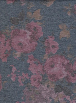 Shabby Flowers on  Dirt Denim Doube Brushed French Terry