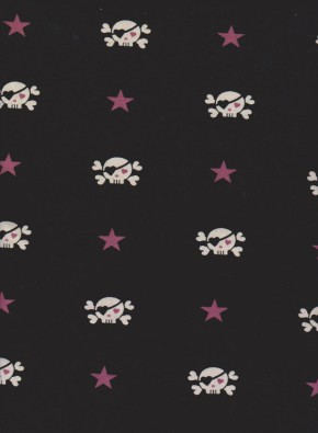 Skull and Hearts on Black Cotton Lycra Jersey