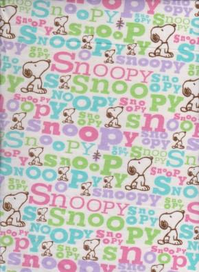 Snoopy on White Cotton Lycra Jersey