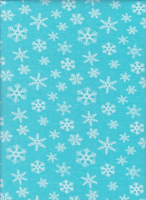 Snowflakes on Blue Cotton Lycra Jersey