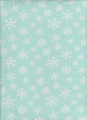 Snowflakes on Mint Cotton Lycra Jersey