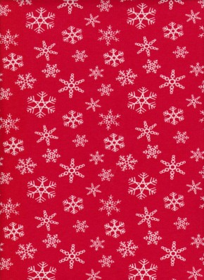 Snowflakes on Red Cotton Lycra Jersey