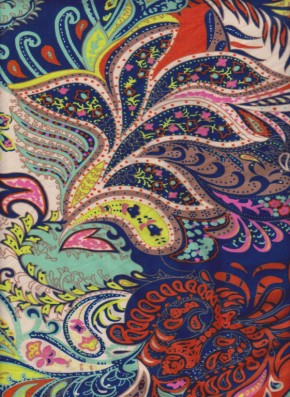 Summer Paisley on Double Brushed Poly Lycra Jersey
