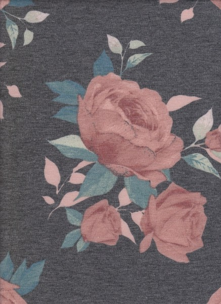 Shabby Flowers on Charcoal Rayon Poly Lycra French Terry