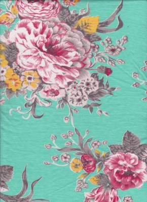 Shabby FLowers on Green  Cotton Lycra Jersey