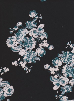 SHABBY FLOWERS ( Teal-White) on Black Double Brushed Poly Lycra Jersey