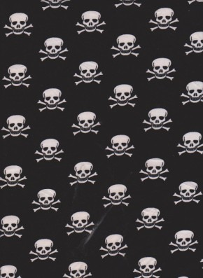 Skull and Bones on Black Double Brushed Poly Lycra Jersey