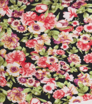 Spring Flowers on Black Rayon Lycra Jersey