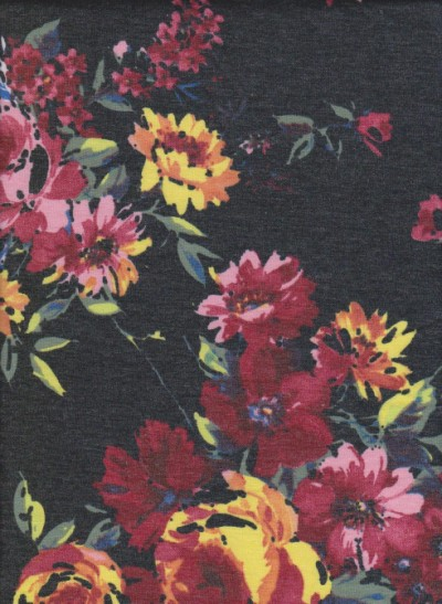 Spring Flowers on Charcoal Rayon Poly Lycra French Terry