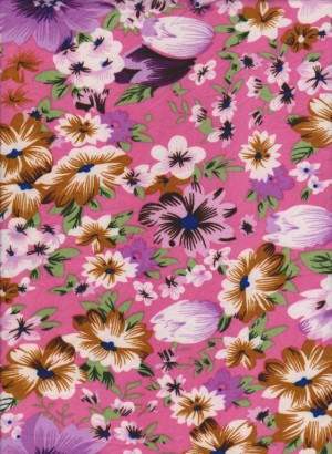 Spring Flowers on Hot Pink Double Brueshed Poly Lycra Jersey