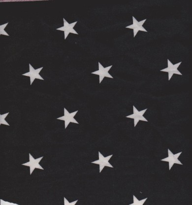 Stars on Black Double Brushed French Terry