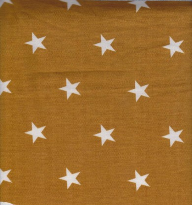 Stars on Mustard  Double Brushed French Terry