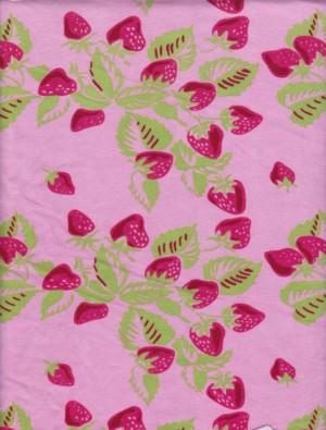 Strawberries on Pink Cotton Lycra Jersey