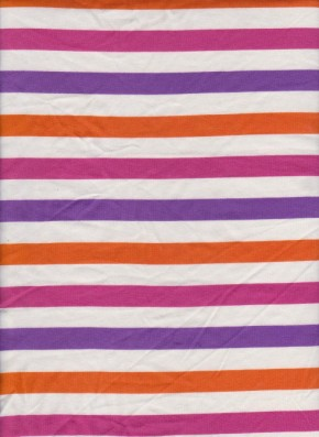 Fuchsia, Orange, Purple Stripe on Ivory Cotton Lycra Jersey