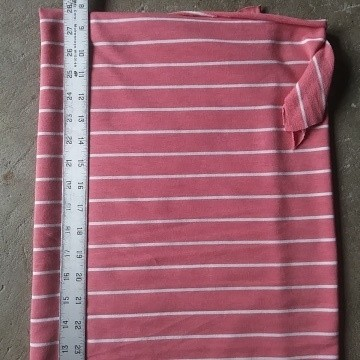 Dusty Pink and White Stripe Double Brushed French Terry