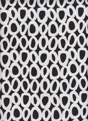 Trendy Black and White Circles on Cotton Lycra Jersey
