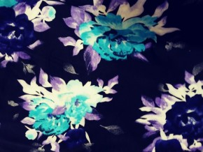 Turquoise Flowers on Black Double Brushed Poly Lycra