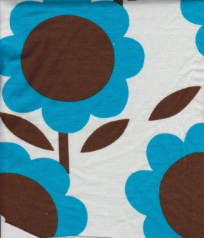 Trendy Sun Flowers on Ivory Cotton Lycra French Terry