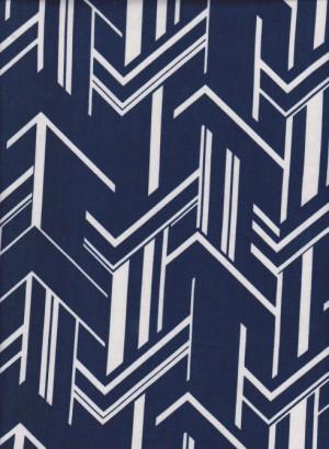 Trendy Navy Arrows on Double Brushed Poly Lycra Jersey