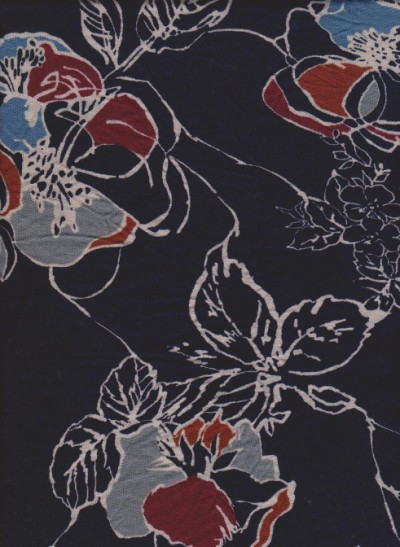 Trendy Florals on Black Double Brushed Poly Lycra
