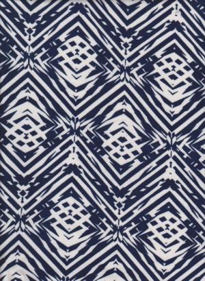 Trendy navy Diamonds on Double Brushed Poly Lycra Jersey