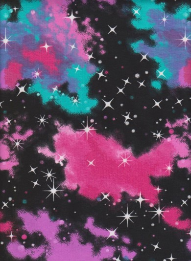 Universe and Stars on Black Cotton Lycra Jersey