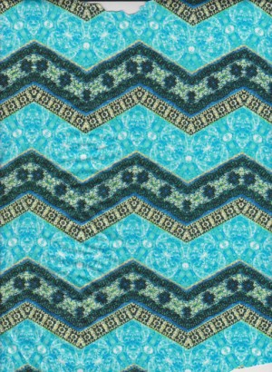 Wavy Turquoise Chevron on Double Brushed Poly Lycra Jersey