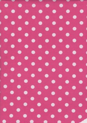 White Polka Dots on Hot Pink Polyester- Swimwear Fabric