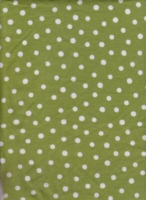 White Tiny Polka Dots on Green Cotton Lycra Jersey