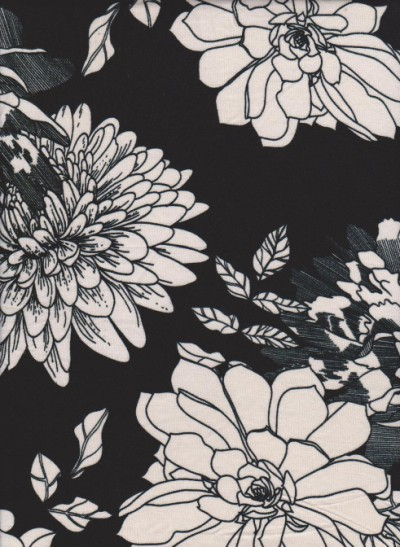 White Big Flowers on Black Rayon Poly Lycra