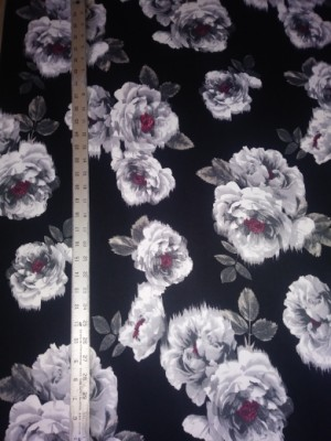 White Big Florals on Black Double Brushed Poly Lycra