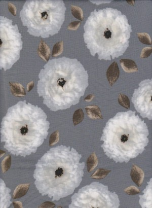 White Flowers on SIlver Gray Double  Brushed Poly Lycra Jersey