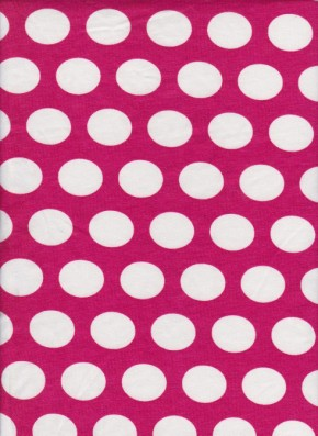 Fuchsia White Polka Dots on Cotton Lycra Jersey