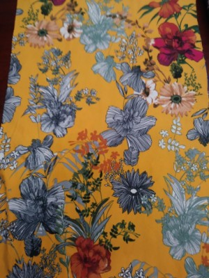 Wild Flowers on Gold Yellow Double Brushed Poly Lycra Jersey