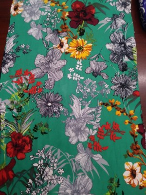 Wild Flowers on Green Double Brushed Poly Lycra Jersey