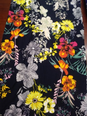 Wild Flowers on Navy Double Brushed Poly Lycra Jersey