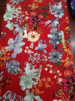 Wild Flowers on Red  Double Brushed Poly Lycra Jersey