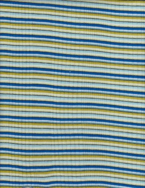 Yarn Dyed Stripe Rib Lycra- Blue , Green White