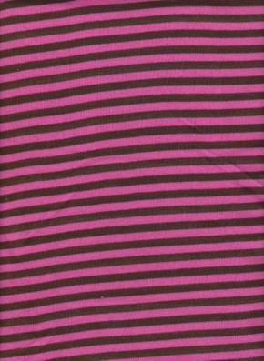 Yarn Dyed Stripe Rib Lycra- Pink and Brown